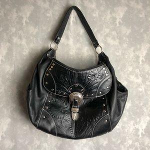 American West black buckle hobo bag